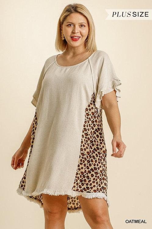 (P) Oatmeal Linen Leopard Dress
