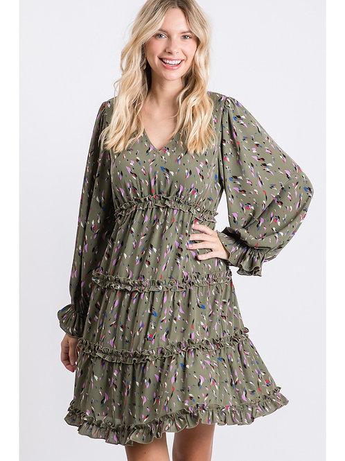 Sage Multi Feather Ruffle Dress