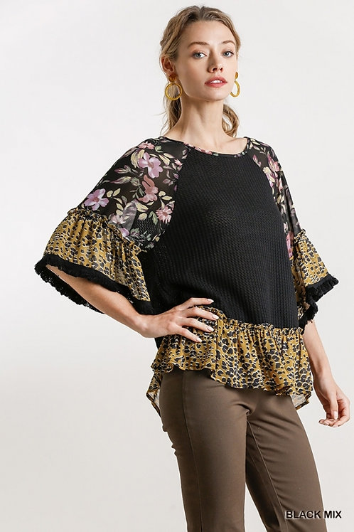 Black Floral/Animal Waffle Knit Top