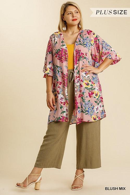 (P) Blush Floral Kimono