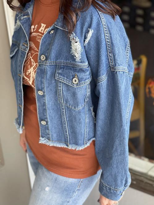 Denim Distressed Crop Jacket