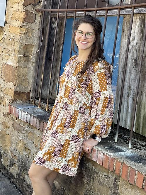 Patchwork Long Sleeve Dress