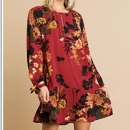Curvy Burgundy Floral Dress