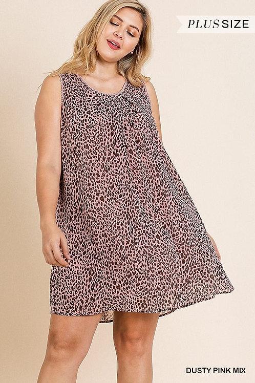 (P) Dusty Pink Leopard Dress