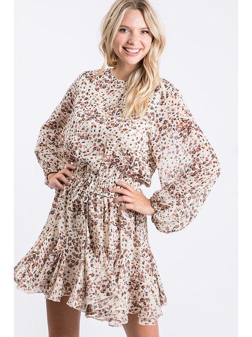 Ivory Leopard Chiffon Dress