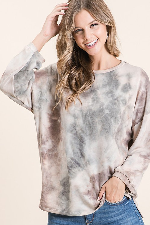 Olive/Brown Tie Dye Terry Pullover
