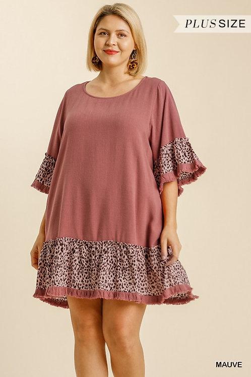 (P) Mauve Linen Leopard Dress