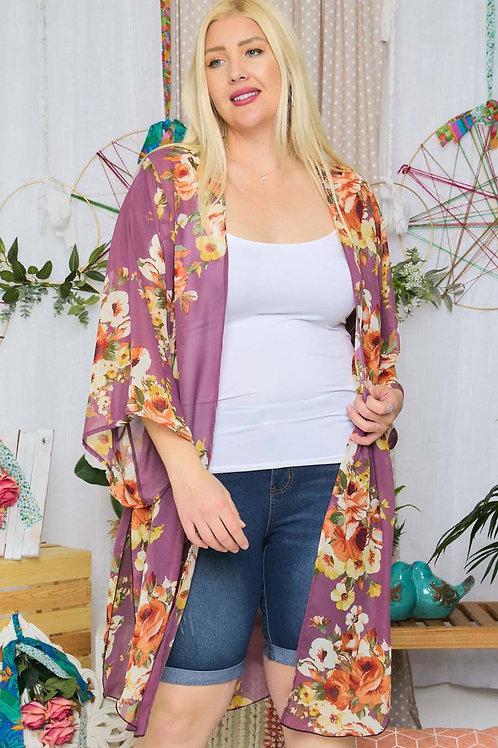 (P) Purple Floral Kimono