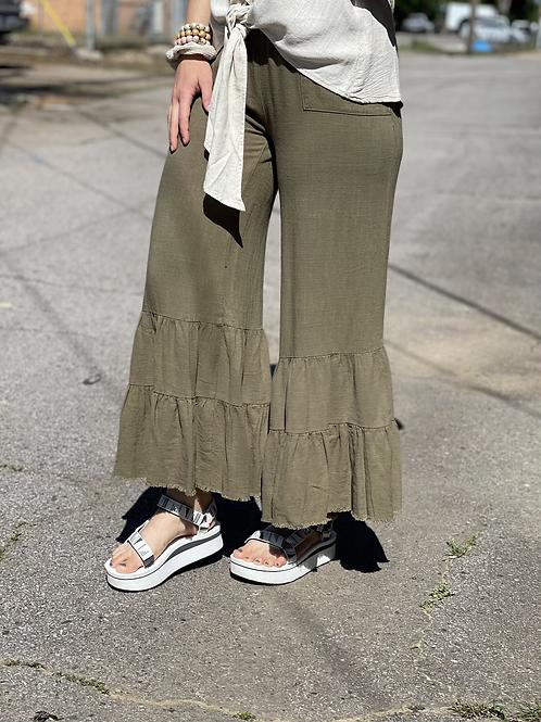 Olive Linen Ruffle Pants