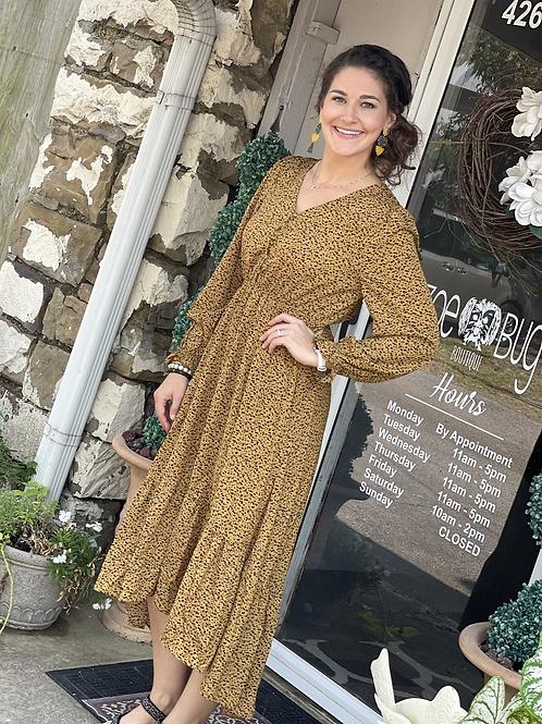 Dotted Mustard LS dress