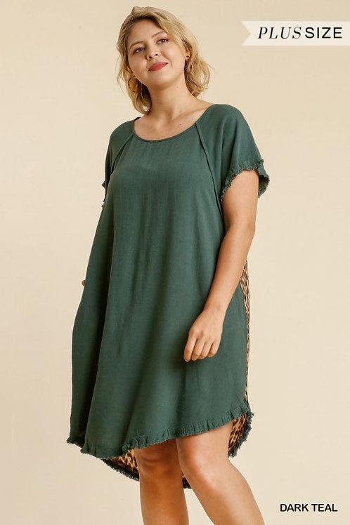 (P) Dark Teal Linen Leopard Dress