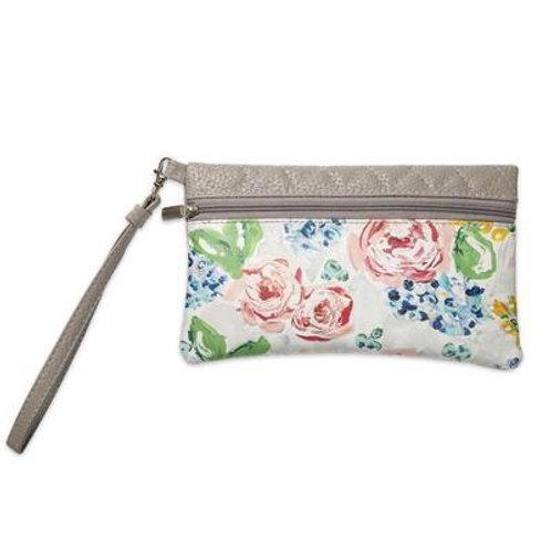 Bella Gray Floral Travel Wristlet