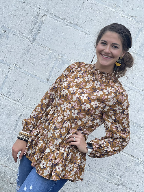 Mustard Floral LS Ruffle Neck Too