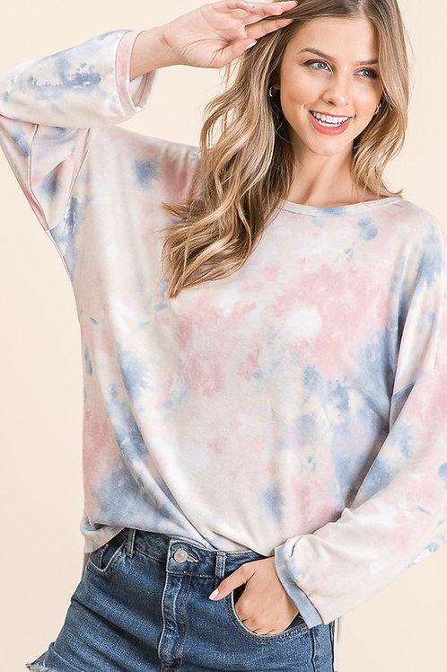 Navy/Coral Tie Dye LS Pullover
