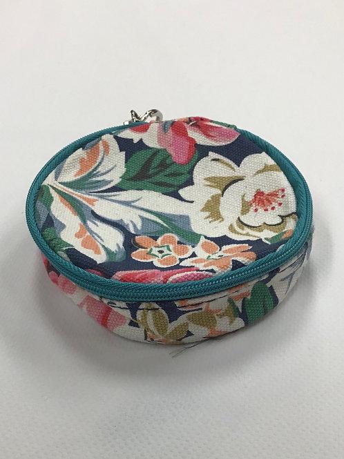 Keyring Wallet (Navy/Teal Floral)