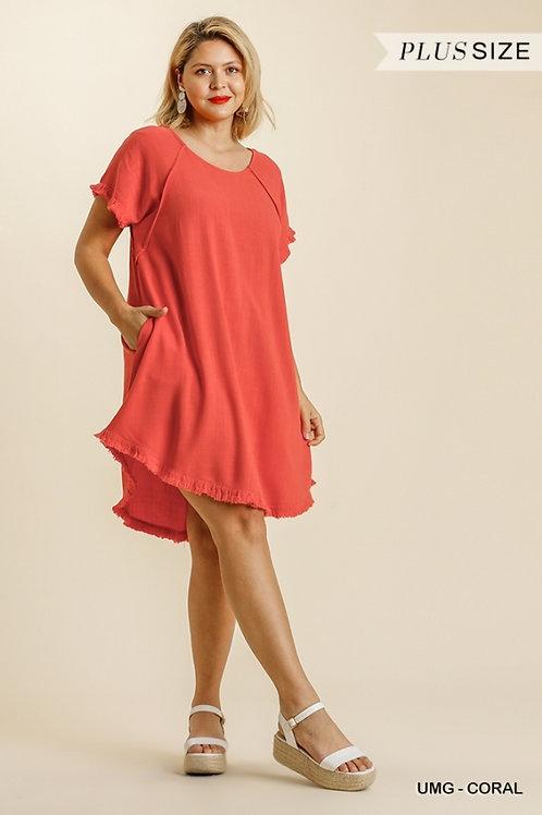 (P) Coral Linen Dress