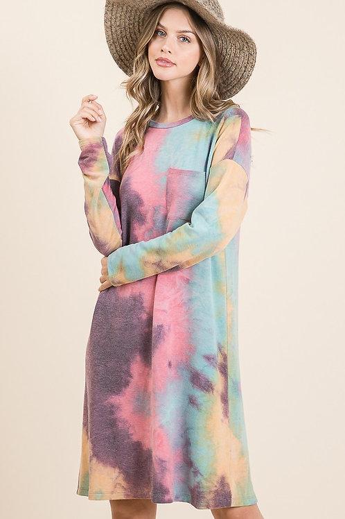 Purple/Mint Tie Dye LS Dress