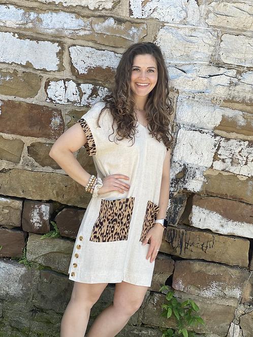 Oatmeal Linen Leopard Dress