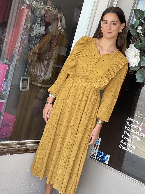 Mustard LS Ruffle Breast Dress