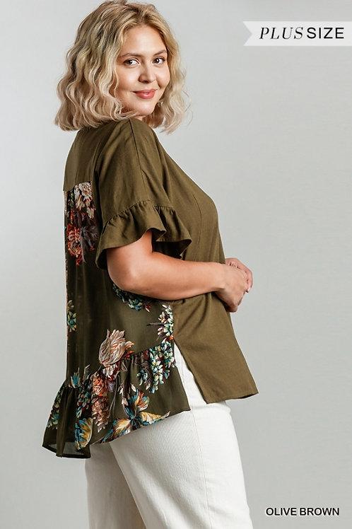 (P) Olive Brown w/Black Floral Top