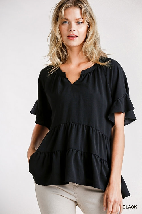 Bell Ruffle SS Tiered Top