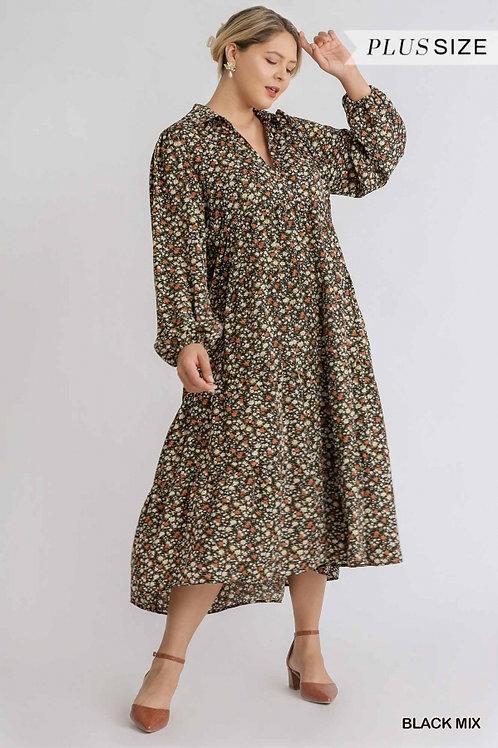 (P) Black Floral Print Puff Sleeve Maxi Dress