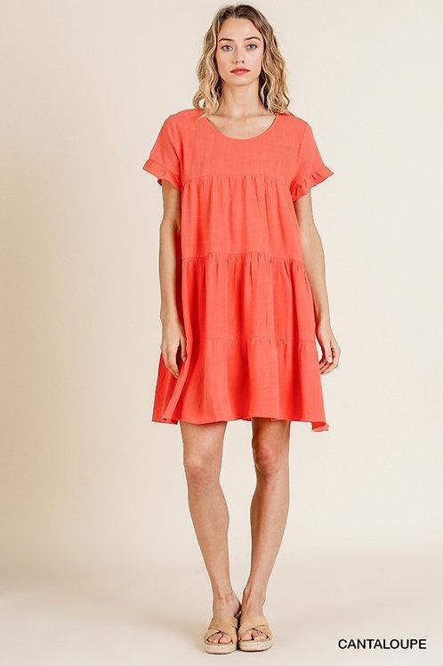 Cantaloupe SS Ruffle Dress