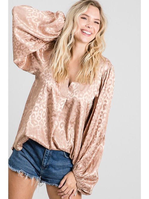 Taupe Shimmer Leopard Blouse