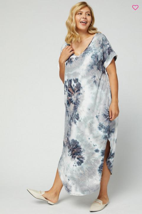 (P) Charcoal Tye Dye Maxi Dress