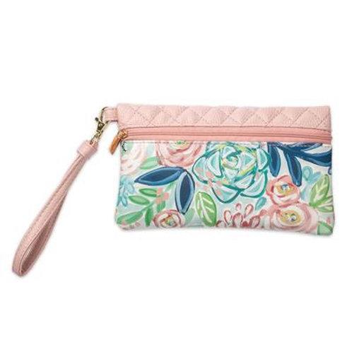 Bella Pale Pink Floral Travel Wristlet