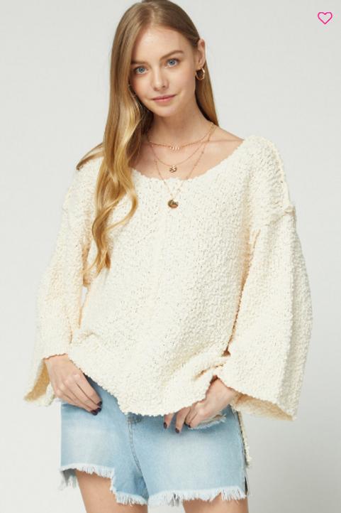 Natural Popcorn Hi Lo Sweater
