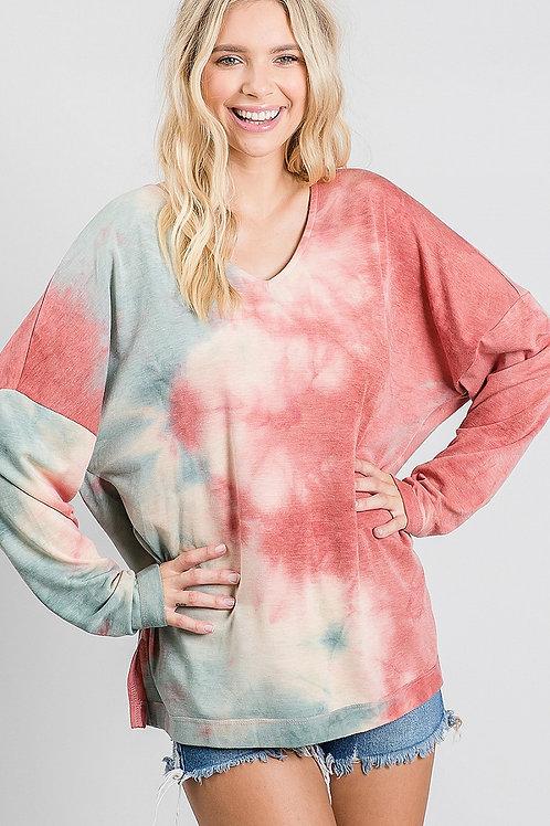 Rose/Sage Tie Dye LS Pullover