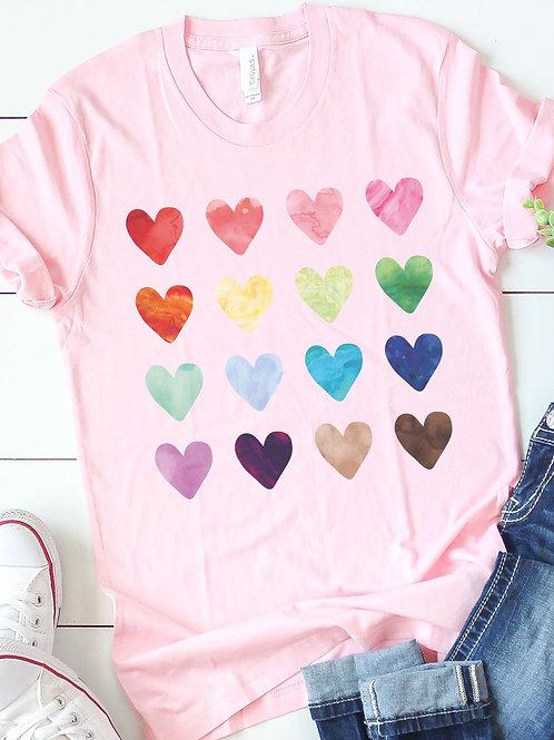 Pink Heart Watercolor Tee
