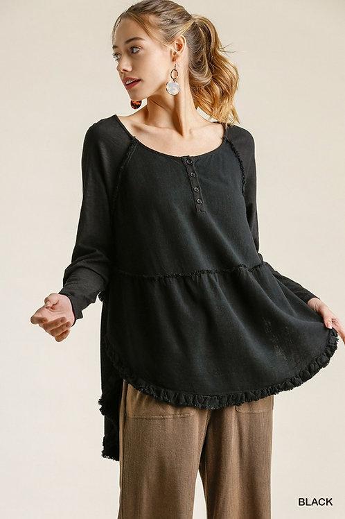 Black LS Linen Frayed Hem Top