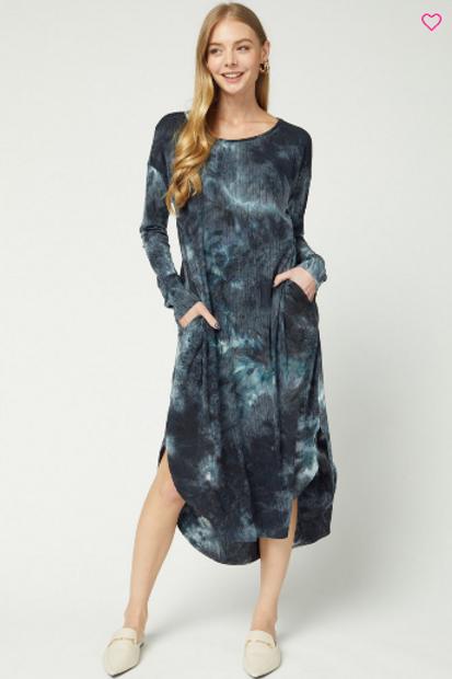 Black Tie Dye LS Midi Dress