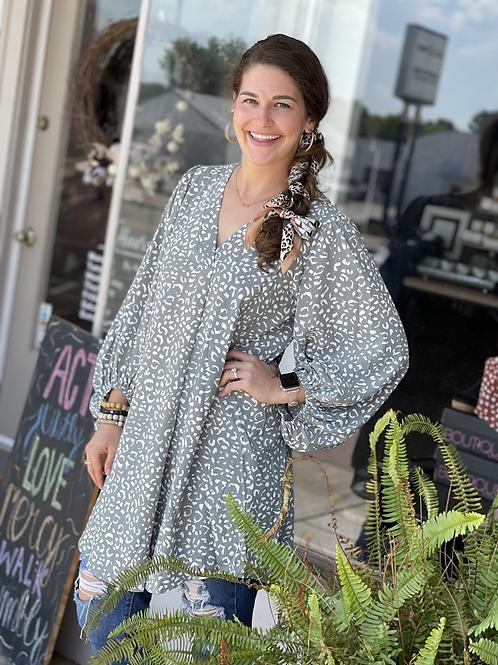 Sage Leopard Shift Dress