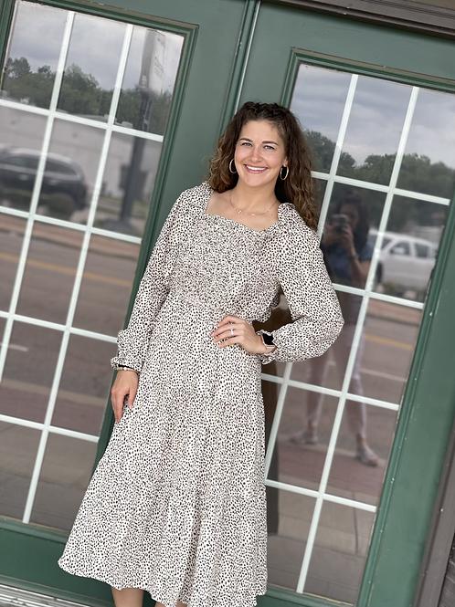 Leopard Smocked Bodice Dress
