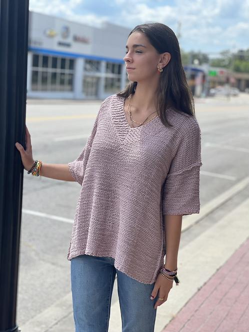 Mauve Short Sleeve V-Neck Sweater