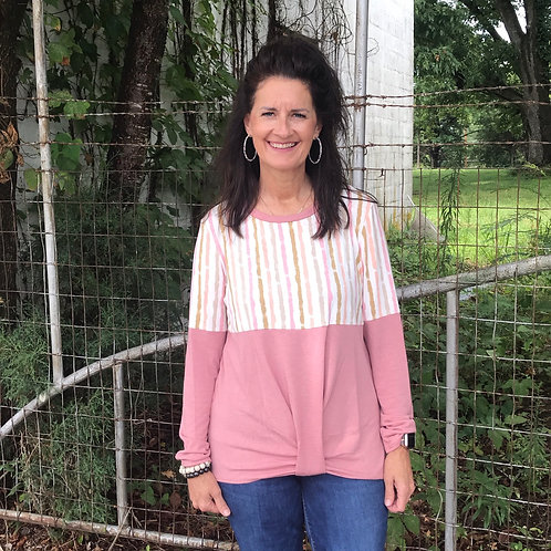 Pink Striped Color Block Top