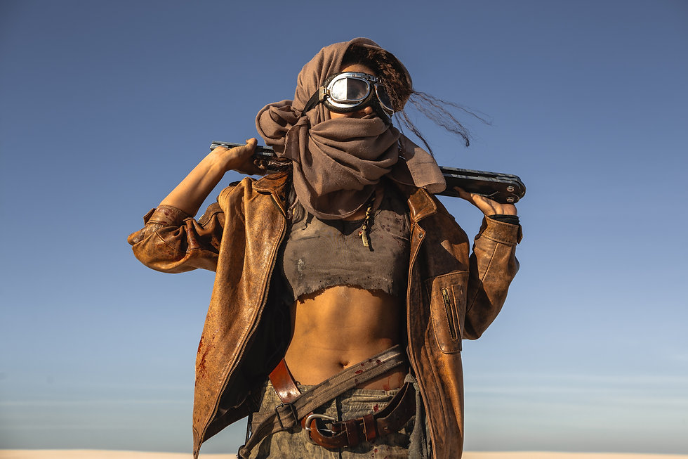Post-apocalyptic woman with weapon outdo