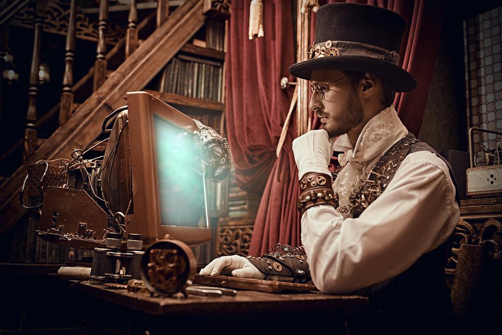 Adventure world of steampunk. Scientist