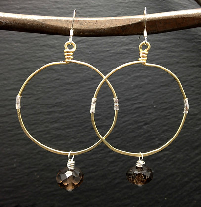 HAMMERED HOOPS with SMOKY QUARTZ