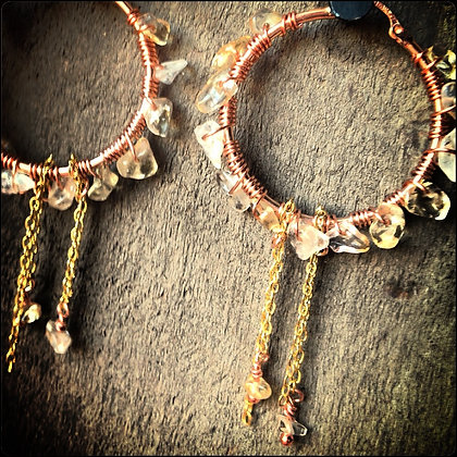 CITRINE WRAPPED ROSE GOLD HOOPS