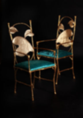 Pair of bespoke bronze cast carver banquest chair by Splinter Works