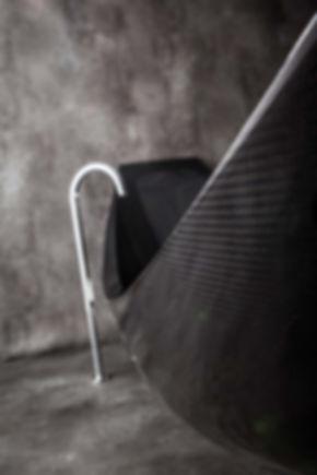 moden black carbon fibre hammock bath by Splinter Works