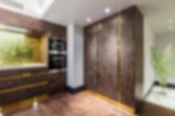 Luxury kitchen and bar design, wood, brass, marble by Splinter Works