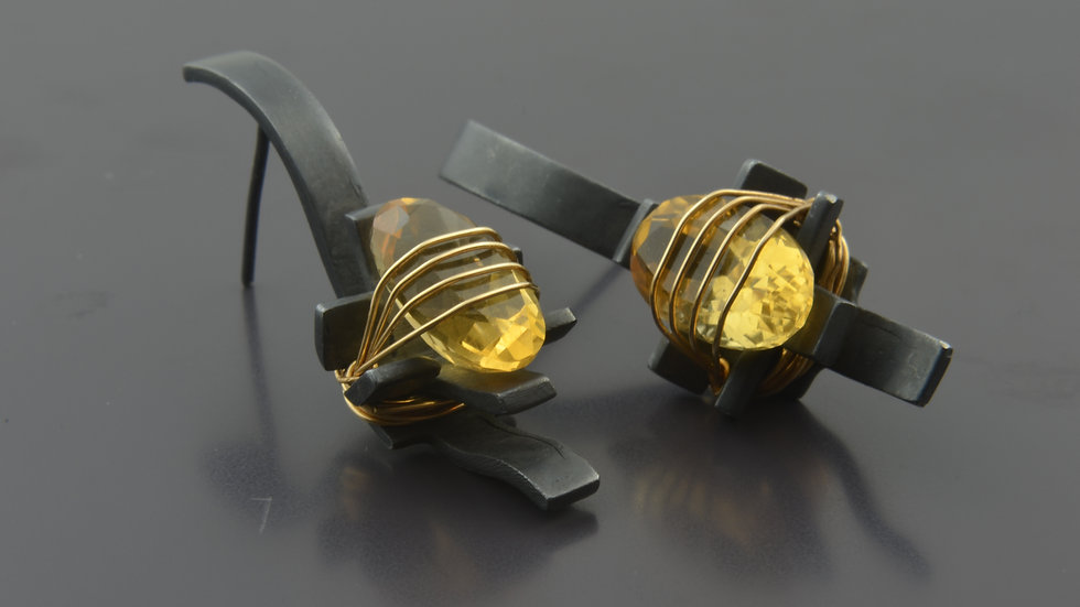 Black Silver Earrings With Citrine Stone