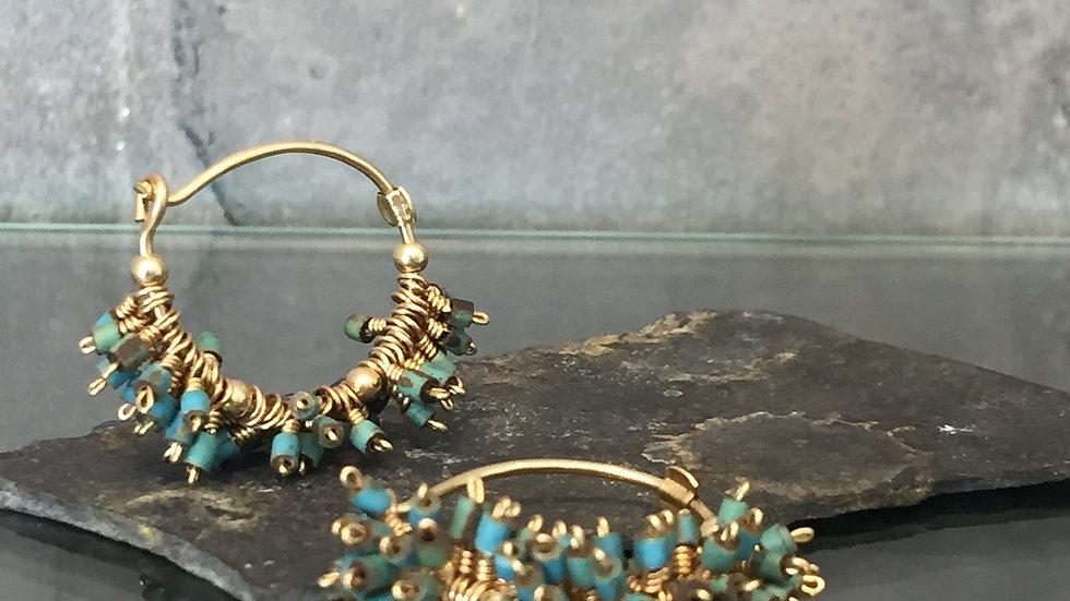 Boho Gemstone Earrings. Boho Earring. Turquoise Earrings.