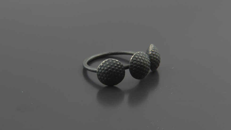 Black Silver Truffle Ring