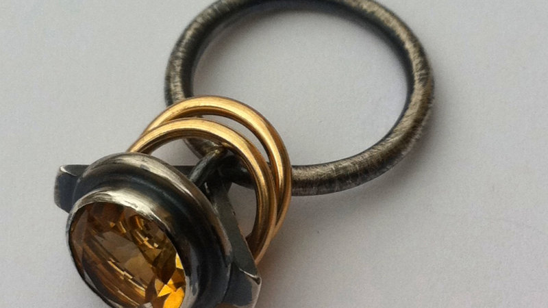 Gold and black silver swing Ring with citrine stone